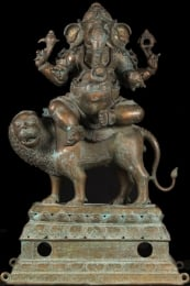 Bronze Ganesh Seated on Lion 41
