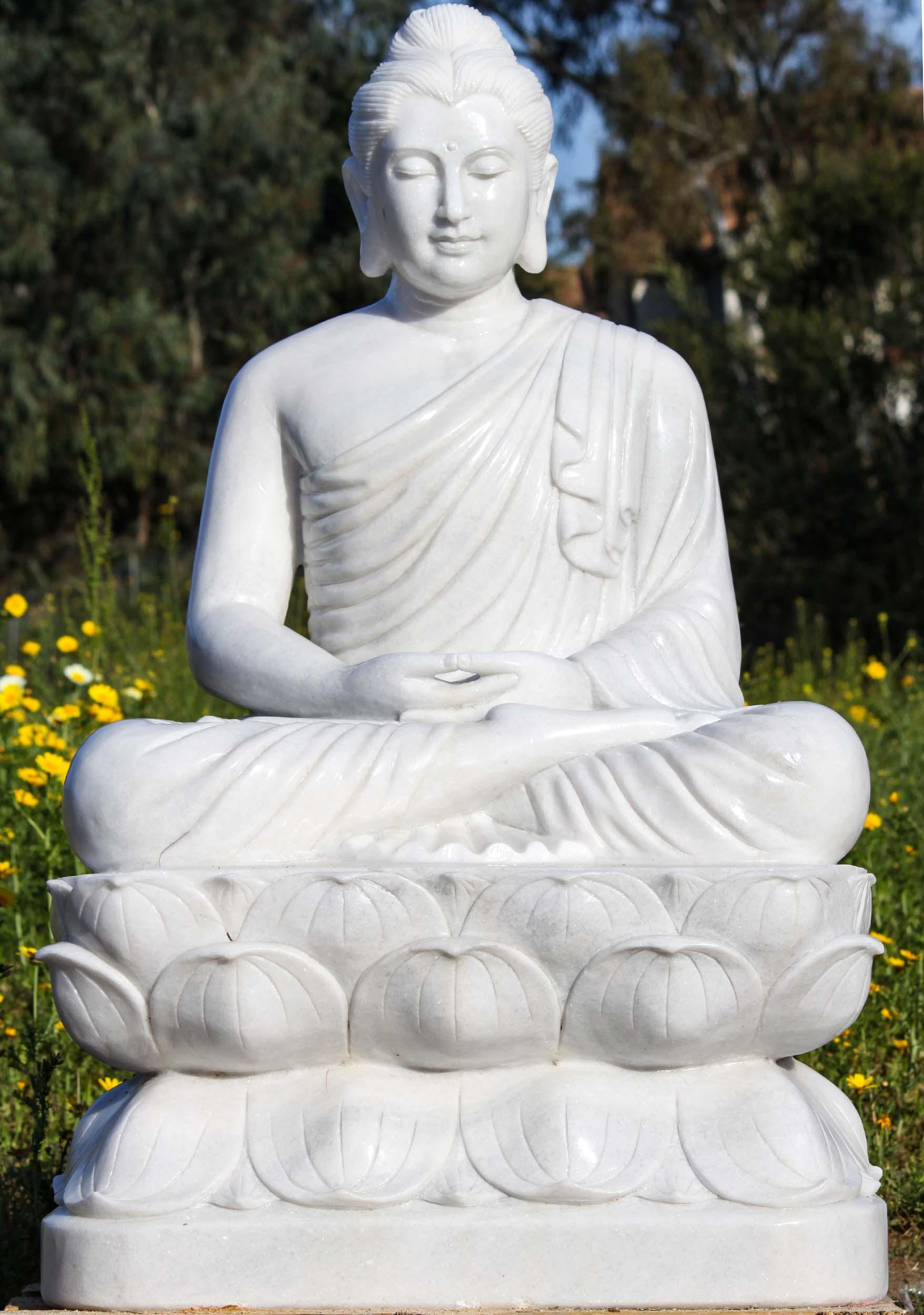 White Marble Gandhara Buddha Statue 49 90wm6 Hindu Gods Buddha Statues