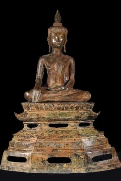 Antique Patina Laotian Buddha Statue 40