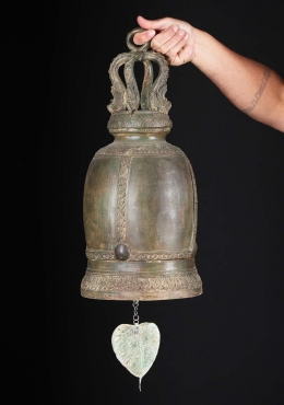 Large Thai Temple Bell with Bodhi Leaf 22