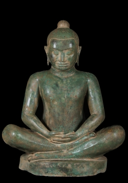 Brass Meditating Khmer King Jayavarman Statue 37