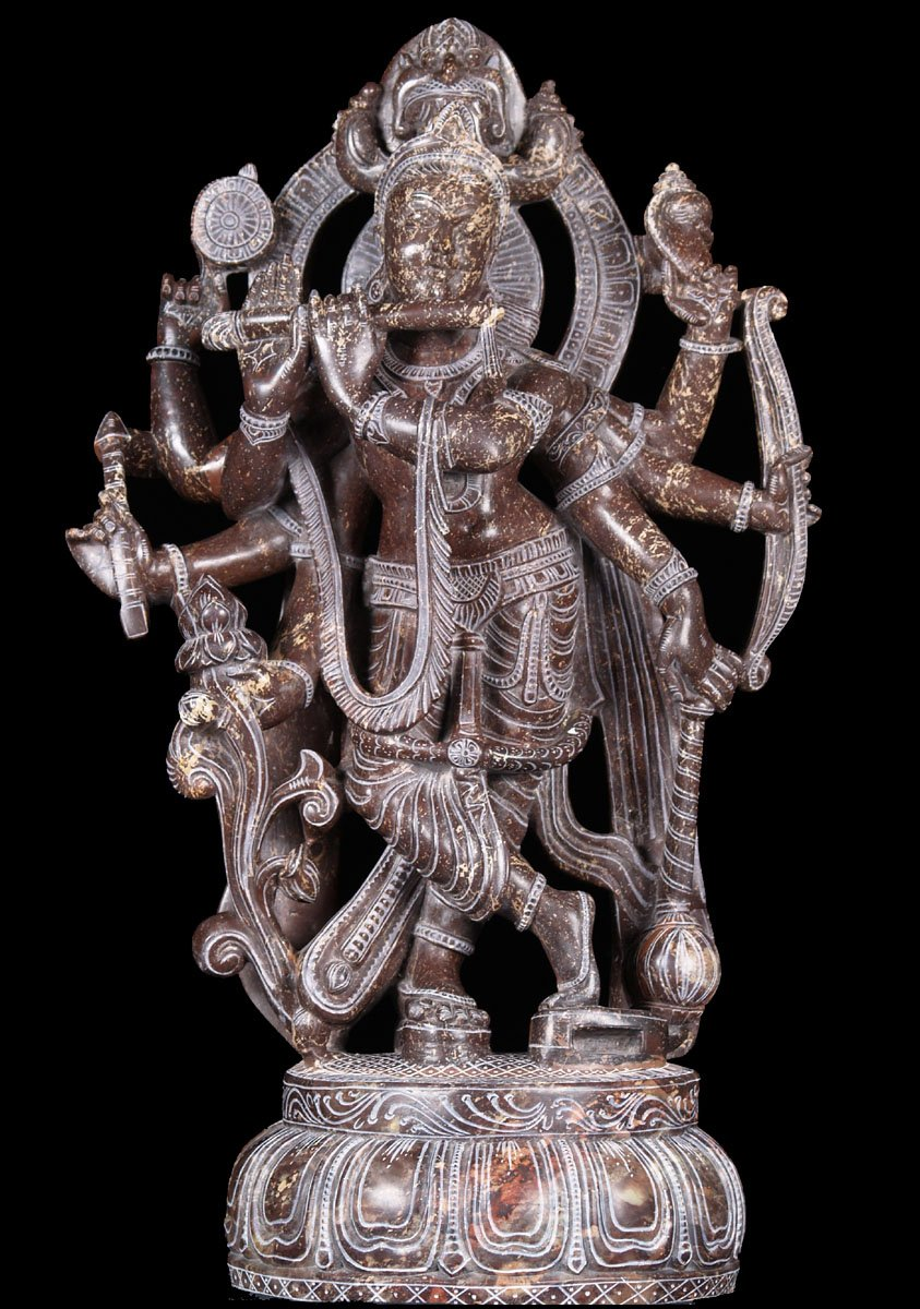 "Black Marble 8 Armed Venugopal Statue 23"" (#52bm17): Hindu ..."