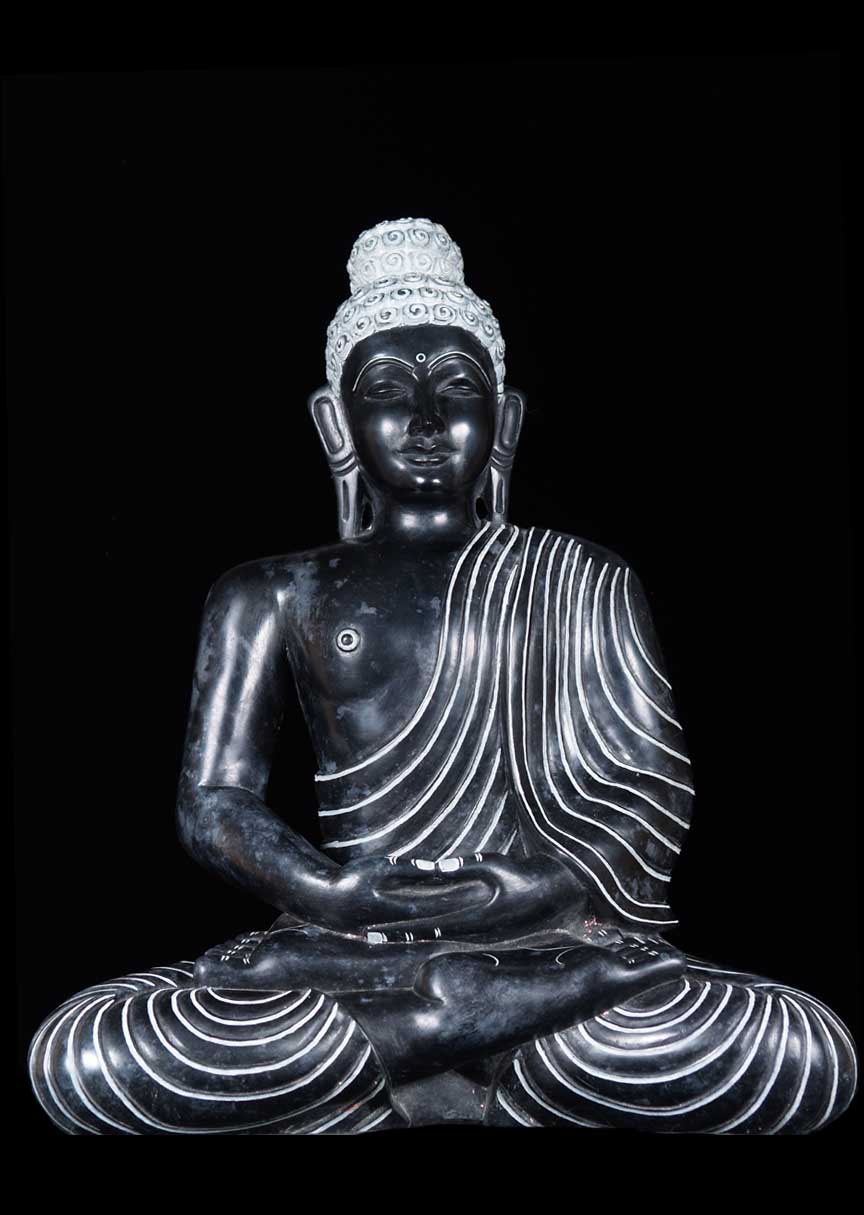 Sold Meditating Black Marble Buddha Statue 17 Quot 52bm19