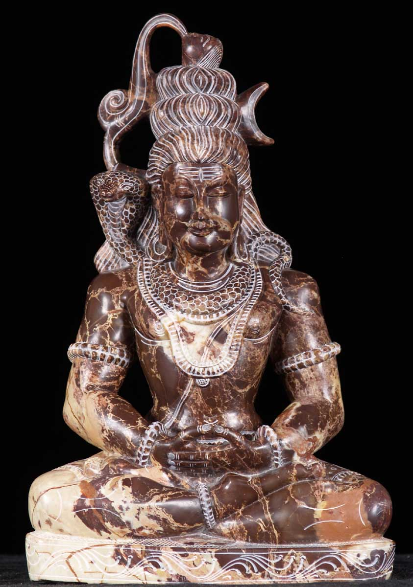 SOLD Black Marble Meditating Lord Shiva Statue 15 ...