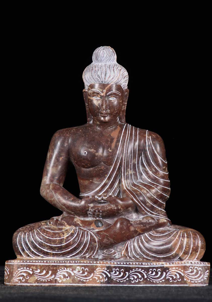 Sold Black Marble Meditating Buddha Statue 10 Quot 52bm77