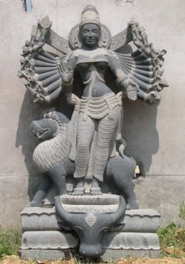 Custom Durga with 18 Arms & Lion 63