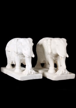 Pair of White Marble Elephants 12