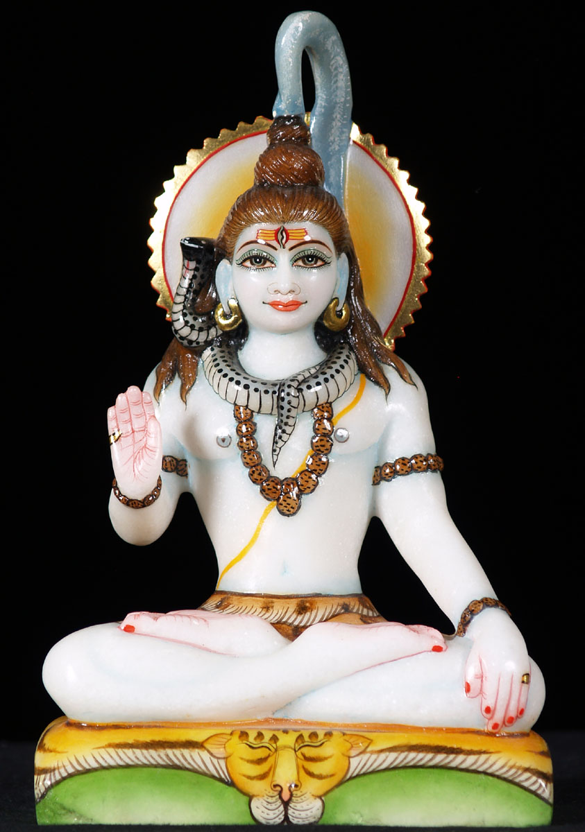 Sold Marble Shiva Statue On A Lion S Skin 9 5 Quot 57wm1a