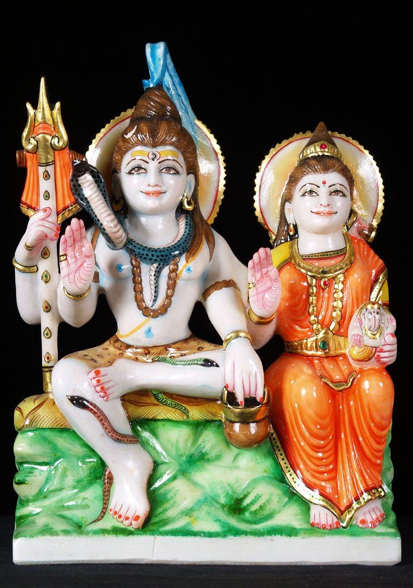 Sold White Marble Shiva Amp Parvati Statue 15 Quot 57wm3c