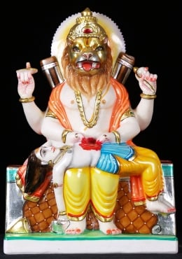Marble Narasimha Statue Killing the Demon 15