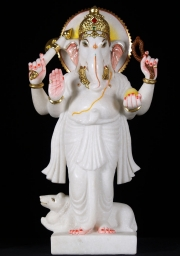 Marble Ganesh Statue with Rat 235