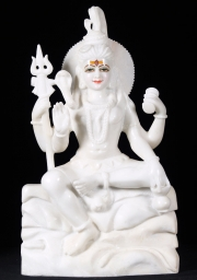 White Marble Seated Shiva Sculpture 24