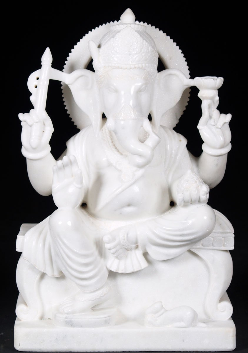 Sold White Marble Ganesh Sculpture 24 Quot 57wm5j Hindu