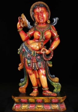 Colorful Wooden Devi Holding Mirror 36