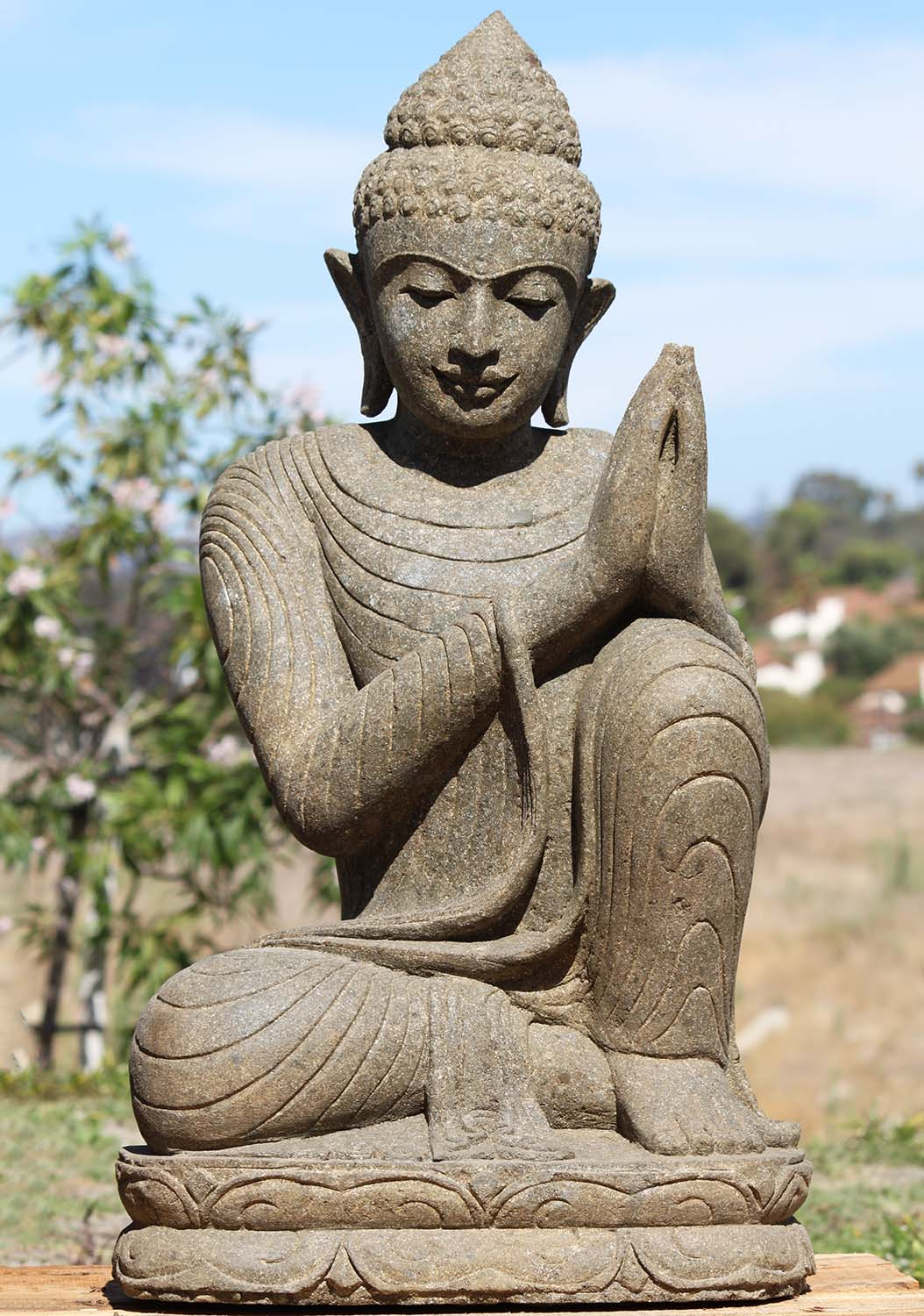 Sold Stone Namaste Resting Buddha Sculpture 37 Quot 102ls23a