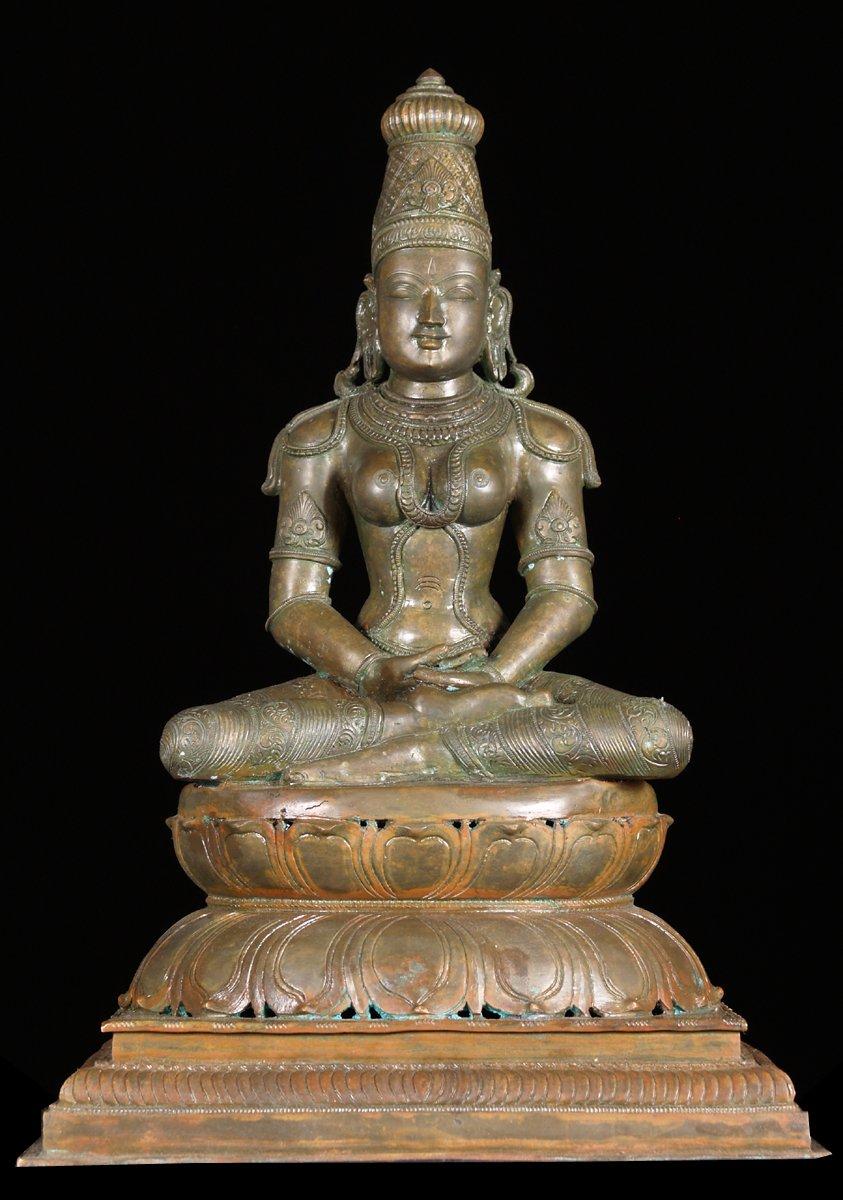 Sold Bronze Meditating Parvati Statue 20 Quot 8bc9 Hindu