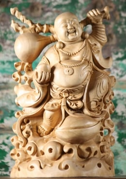 Wooden Fat & Happy Buddha Statue 14