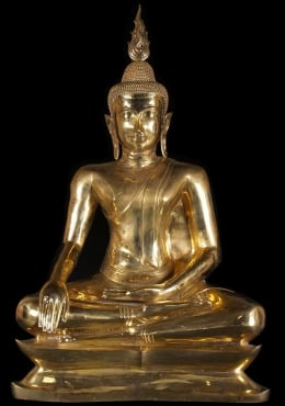 Large Golden Uttong Buddha Statue 52