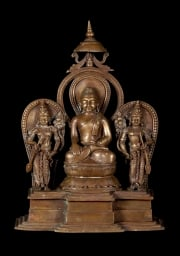Bronze Buddha with 2 Devotees 13