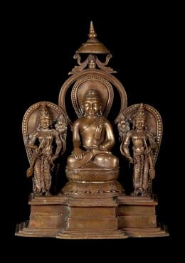 Bronze Buddha Statue with 2 Devotees 13