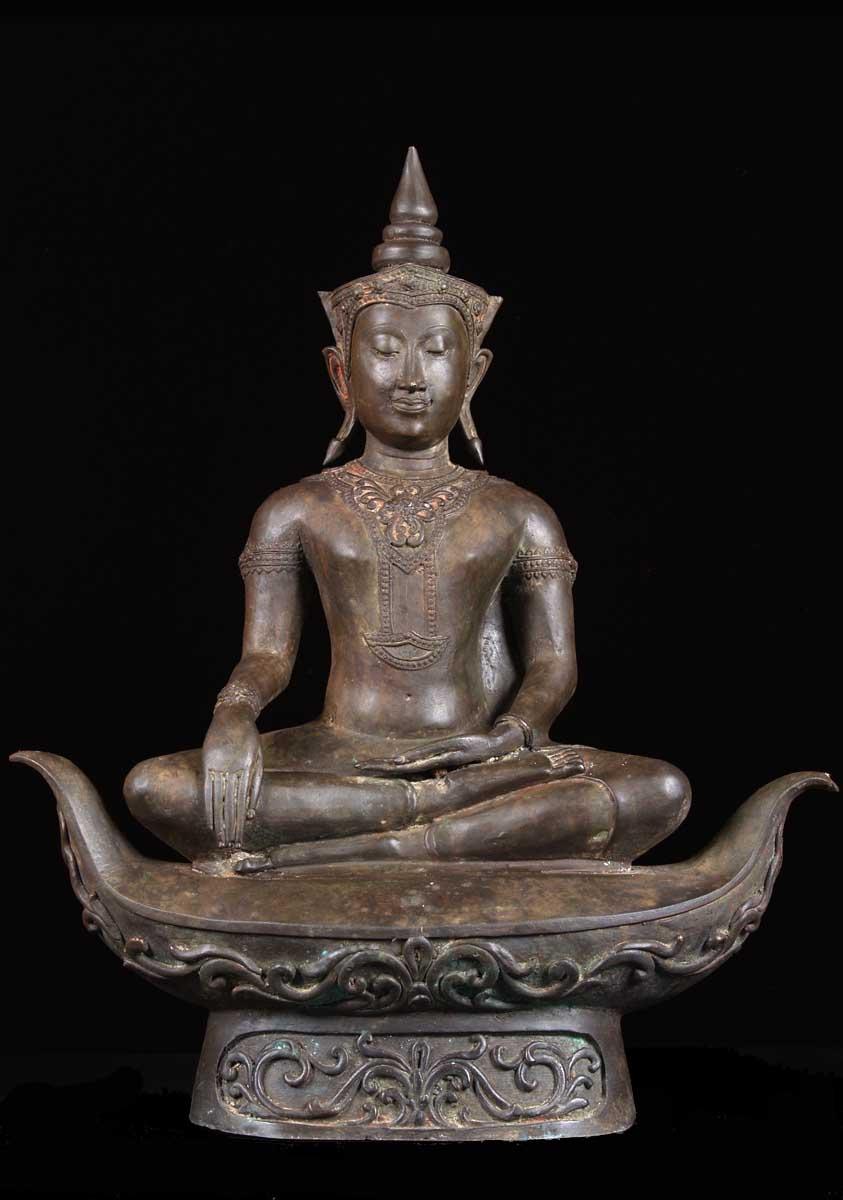 "SOLD Thai Brass Ayutthaya Buddha on Boat 21"" (#55t36a ..."