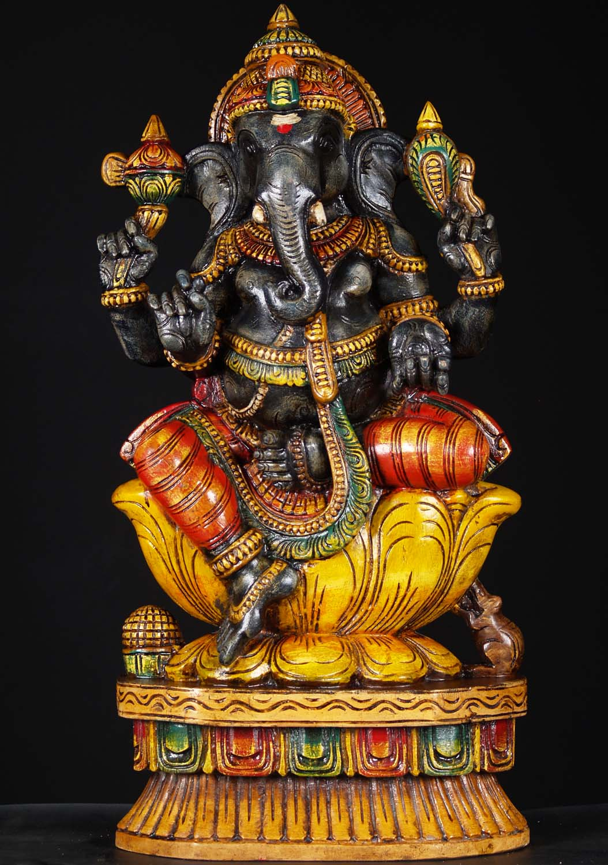 Sold Wooden Black Ganesha Statue 24 Quot 76w1fy Hindu Gods