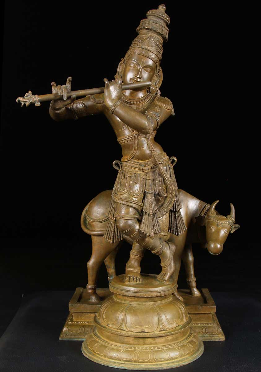 "SOLD Krishna Playing Flute with Cow 25"" (#9bc5): Hindu ..."