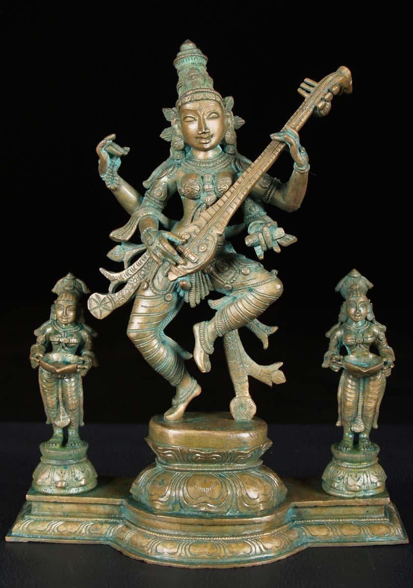 Sold Bronze Saraswati Statue With 2 Deepa Lakshmi 12