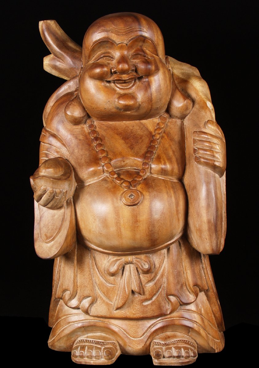 Sold Standing Wood Statue Of The Laughing Buddha 25 Quot