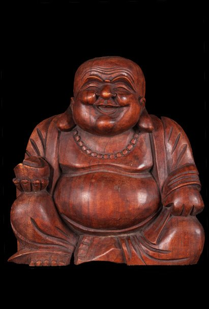 Sold Fat Amp Happy Wood Buddha Of Wealth Statue 12 Quot Bw11