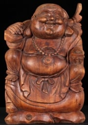 Fat  Happy Buddha Seated on a Bag of Gold 16
