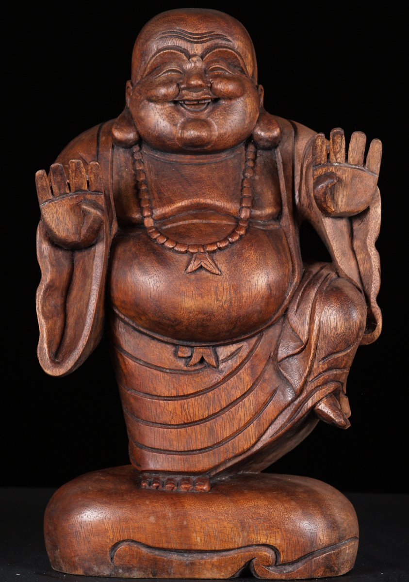 SOLD Happy Budddha of Wealth Wood Statue 16""