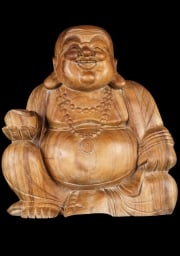 Seated Fat  Happy Wood Buddha Statue 16