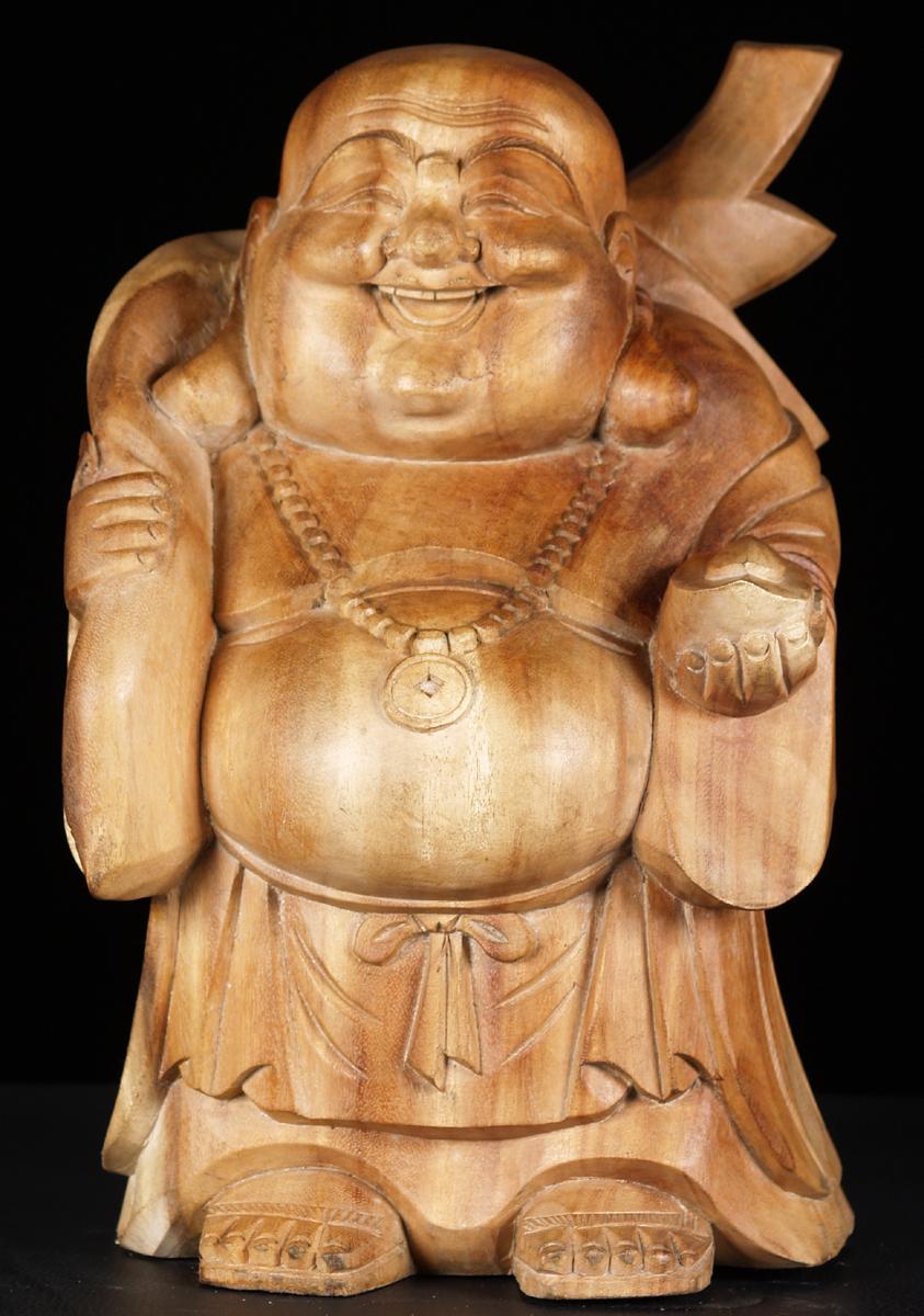 Sold Natural Wood Laughing Buddha Statue 16 Quot Bw32 Hindu Gods Amp Buddha Statues