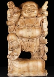 Fat  Happy Natural Wood Buddha Statue 24