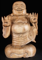 Dancing Fat Buddha Statue on Sack of Gold 24