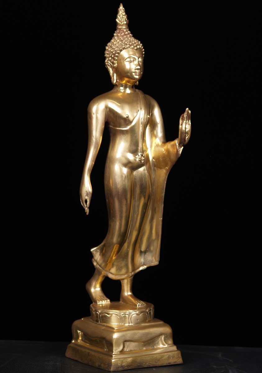 Sold Golden Enlightened Buddha Statue 18 Quot 55t8a Hindu