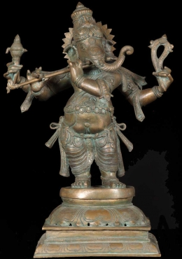 Bronze Ganesh Statue Playing the Flute 22