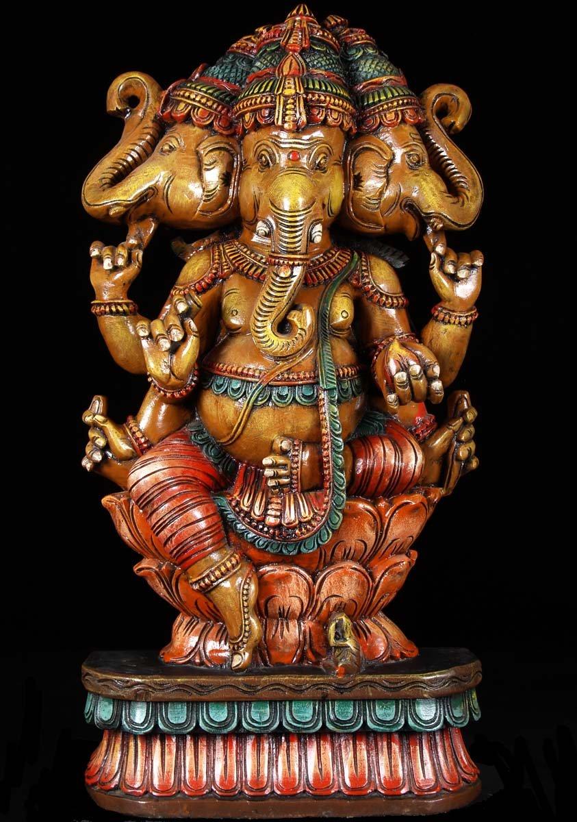 Sold Trimukha Ganapati Statue 3 Headed Ganesh 35