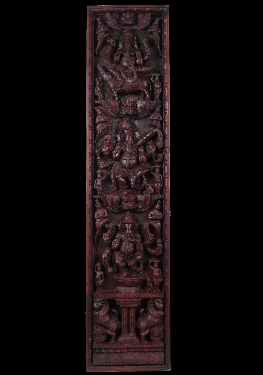Sold vertical ganesh wooden wall panel 74 59w10 hindu gods buddha statues - Wood panel artwork ...