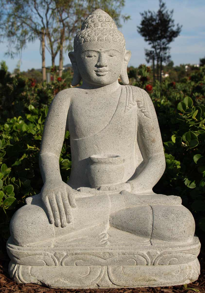 sold garden stone buddha statue with begging bowl 20. Black Bedroom Furniture Sets. Home Design Ideas