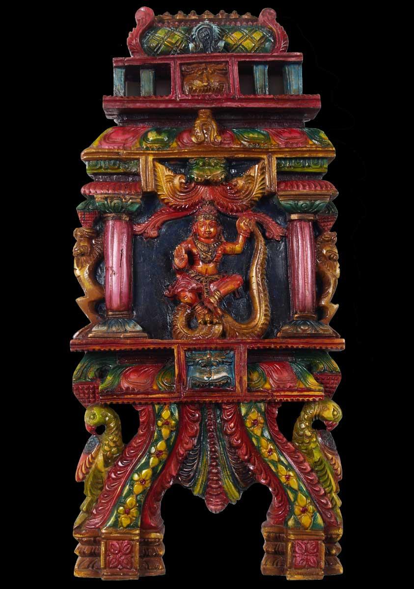 "Stone Garden Wall >> SOLD Wood Krishna Kavadi Wall Panel 24"" (#59w5f): Hindu Gods & Buddha Statues"