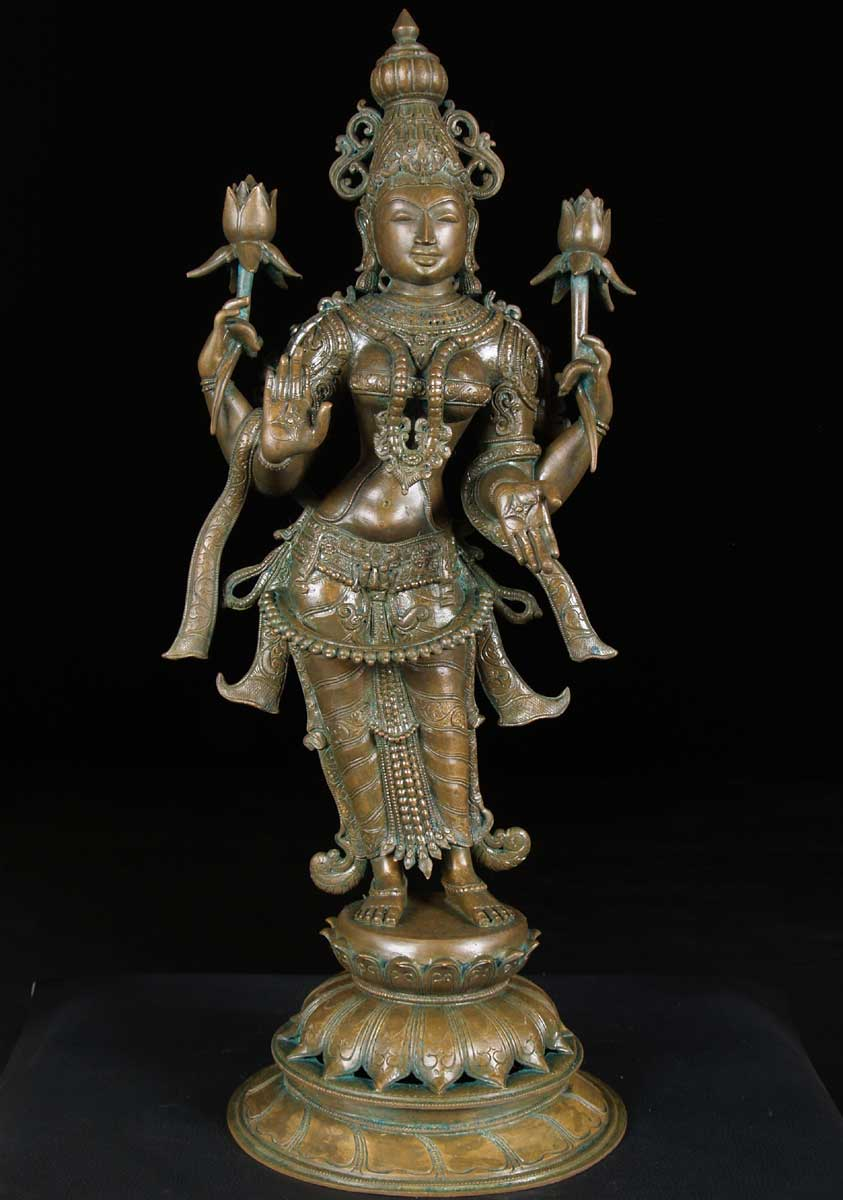 SOLD Lakshmi Statue Holding 2 Lotus Flowers 30 quot Lakshmi Statue