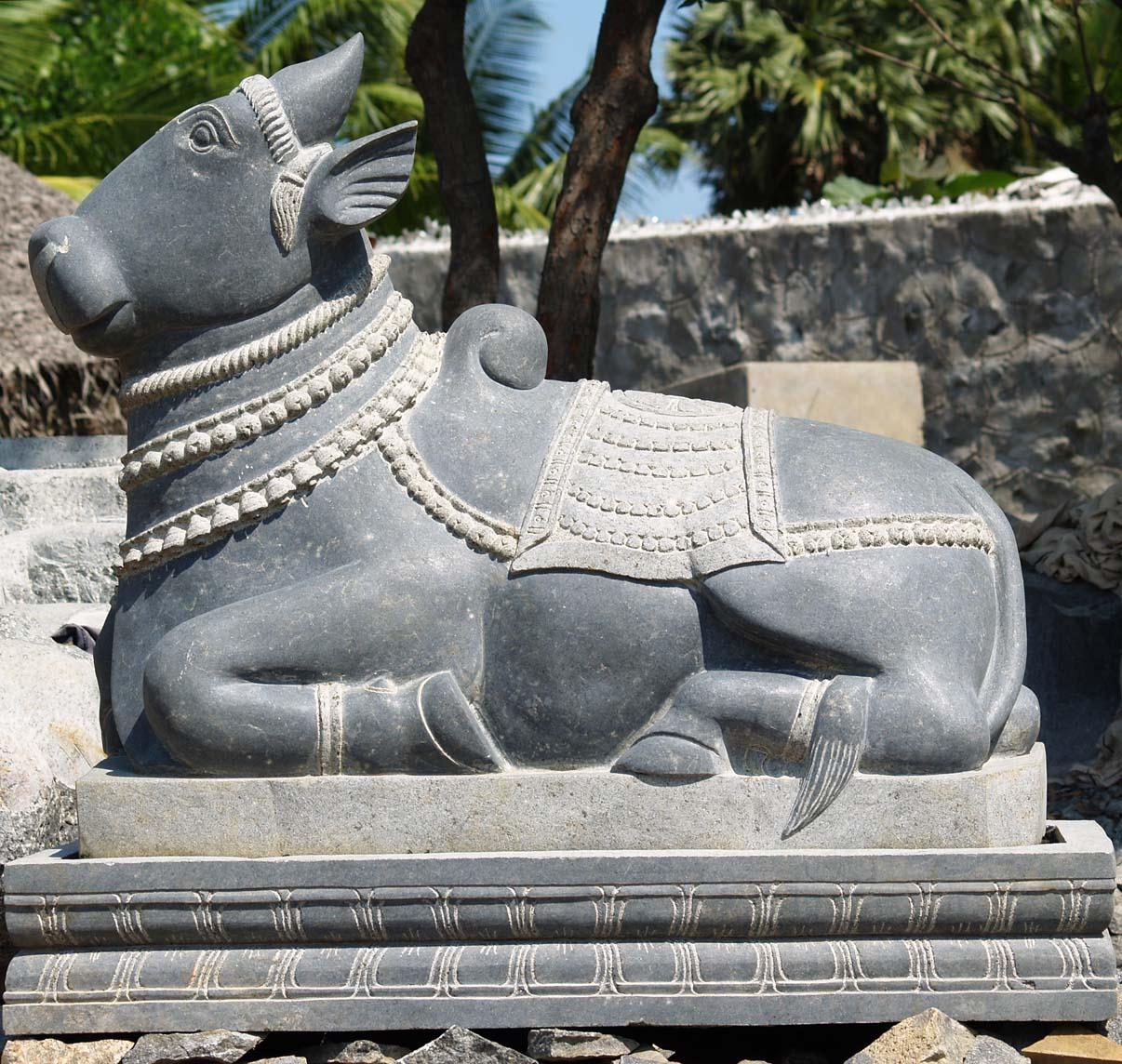 Sold Large Stone Nandi Shiva S White Bull 48 Quot 39g7