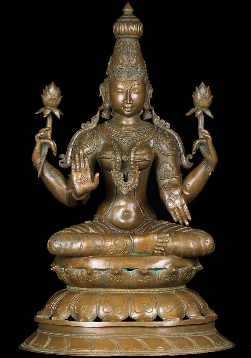 Sold Lakshmi Statue Holding 2 Lotus Flowers 24 Quot 60b92