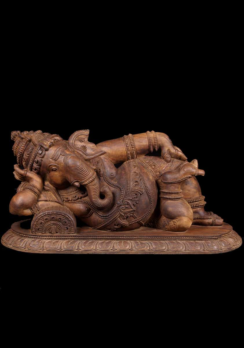 Sold Large Reclining Wood Ganesh Statue 48 Quot 59w8 Hindu