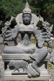 Stone 10 Arm Shakti Statue with Tiger 29