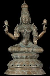 Bronze Lakshmi Statue with Lotus 24