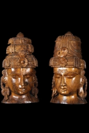 Large Wood Bust of Shiva  Parvati 26