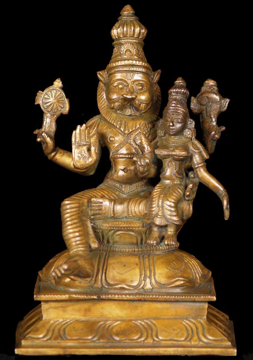 Sold Bronze Narasimha Lakshmi Statue 6 Quot 60b16 Hindu